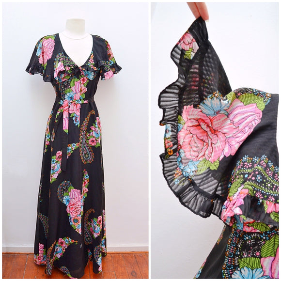 1970s Flutter sleeve cape Samuel Sherman floral print black maxi dress