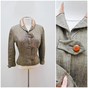 1940s 50s Silk & velvet fitted jacket