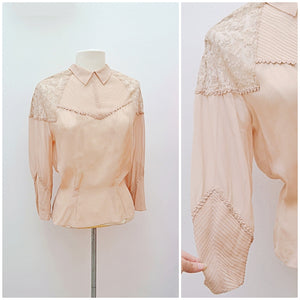 1930s Beige sheer silk & lace pin tuck chevron blouse