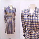 1940s Purple printed pure silk formal day dress by Mode Salon Dame