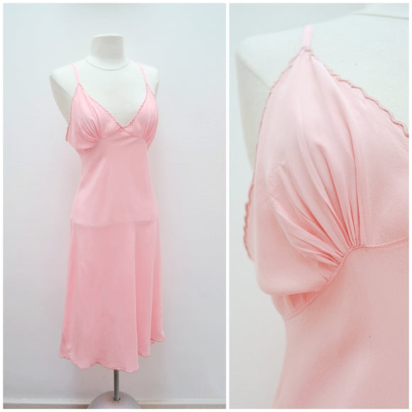 1940s Pink silk crepe de chine bias cut nightgown - Small