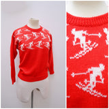 1970s does 1940s Novelty red ski woollen sweater - Extra small Small