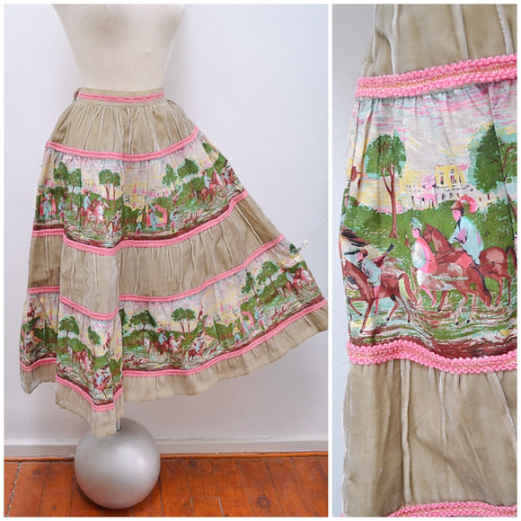 1950s Silk velvet & Novelty medieval print cotton ruched skirt