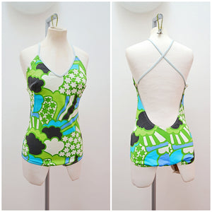1970s Green star & cloud print open back swimsuit - Extra small