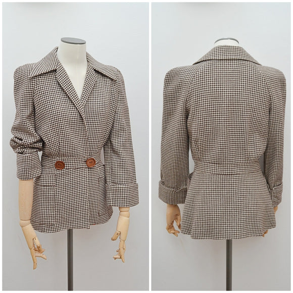 1970s does 40s Sterling Cooper houndstooth wool jacket - Small
