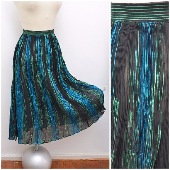 1970s Blue green lame Bridget of Strawberry Studios skirt - Extra small