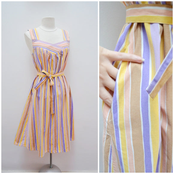 1960s Pastel stripe belted trapeze cotton dress with pocket - Small