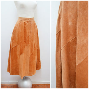 1970s 80s Tan suede panelled gathered skirt with pockets