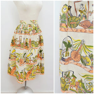 1950s Curio/antiques Novelty print green orange cotton skirt