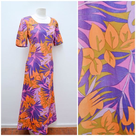1960s 70s Purple orange tropical print maxi empire dress