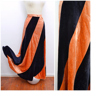1970s Black orange stripe bias cut velvet maxi skirt