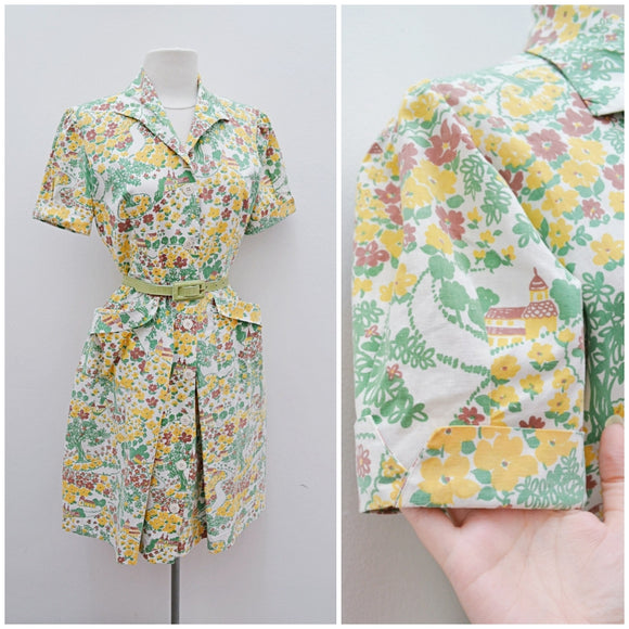 1940s Novelty village print cotton day dress