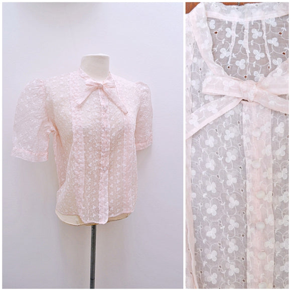 1930s Pale pink voile embroidered blouse with puffed sleeve & dickie bow