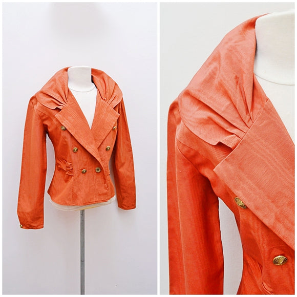 1980s Burnt orange terracotta Moire taffeta Wallis evening jacket