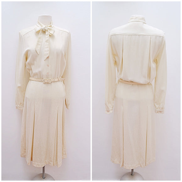 1980s Cream wool crepe Wallis tie neck day dress