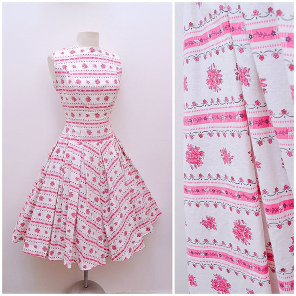 1950s White & pink floral cotton full skirted summer dress