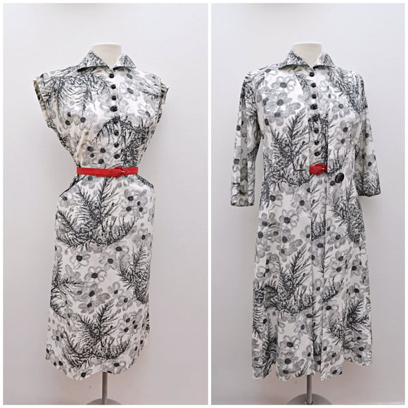 1950s White/black printed cotton fitted dress & jacket suit set
