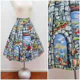 1950s Novelty holiday scenes print cotton pleated skirt