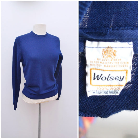 1960s Navy blue Wolsey wool fashioned sweater