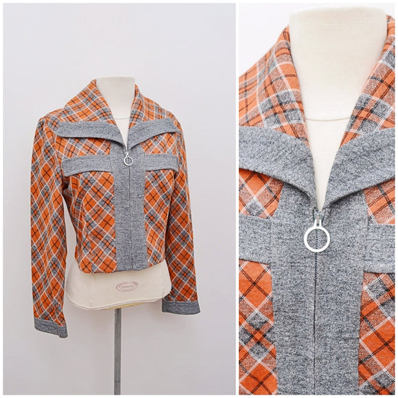 1970s Plaid check jersey zip front Wolsey cropped jacket