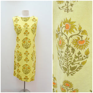 1960s Yellow psychedelic flower print shift dress - Medium