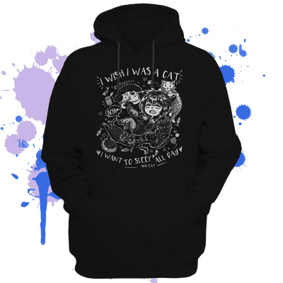 I wish I was a cat Hoodie - tamaishidesign