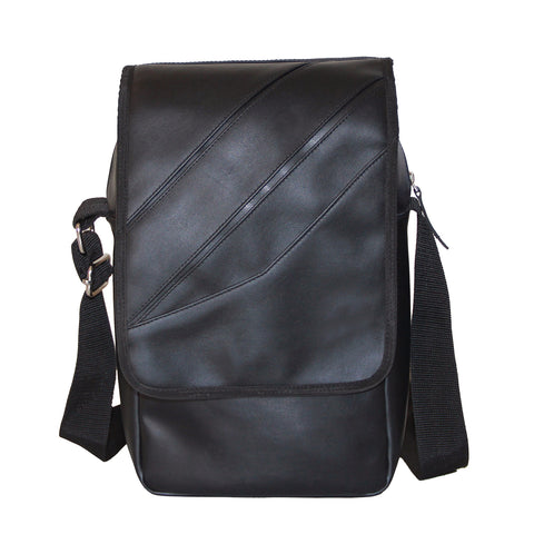 Black Faux Leather Sling Bag