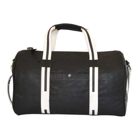 Black Faux Leather Weekender