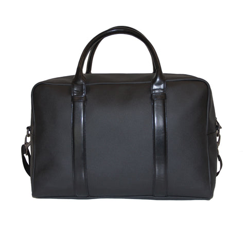 Black Grained Faux Leather Duffle