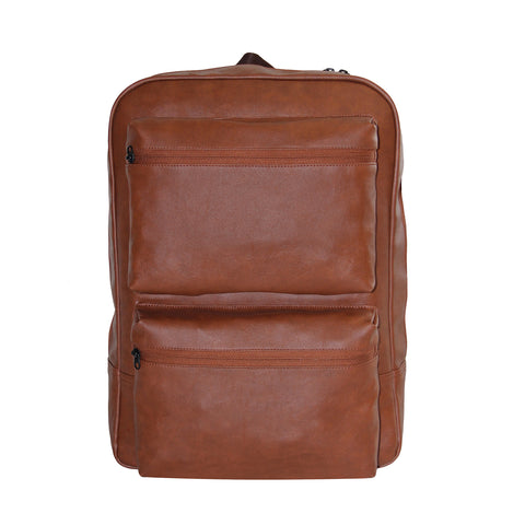 Brown Faux Leather Day Pack
