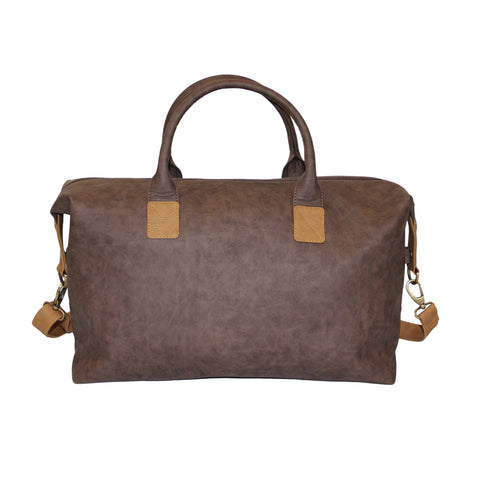 Brown Faux Leather Weekender