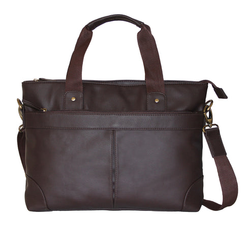 Dark Brown Faux Leather Messenger