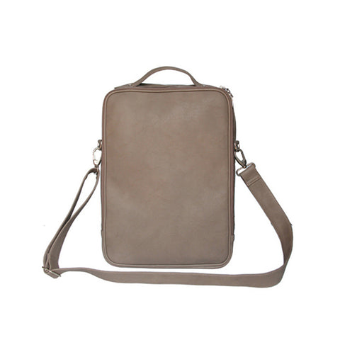 Grey Faux Leather Messenger