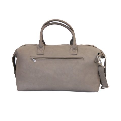 Grey Faux Leather Duffle