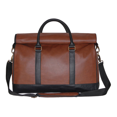 Roll-Top Faux Leather Duffle Bag