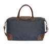 Navy Polyester & Leather Duffle