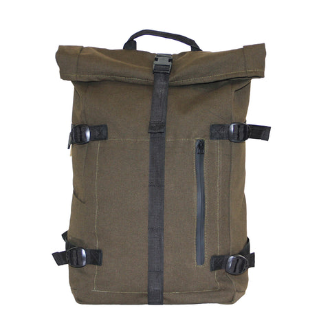 Olive Green Roll Top Backpack