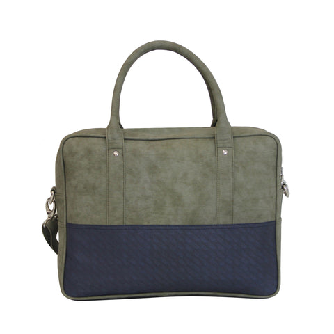 Olive Green & Blue Laptop Bag
