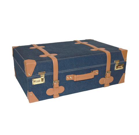 Stylish Denim & Faux leather Trunk