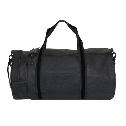 Stylish All Black Faux Leather Duffle