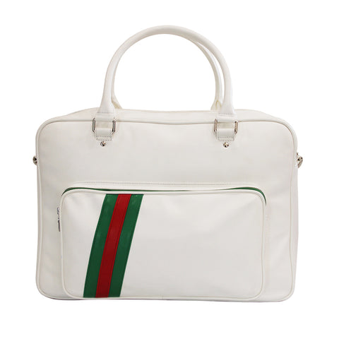 White Faux Leather Duffle