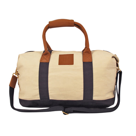 White- Blue Canvas  Duffle Bag