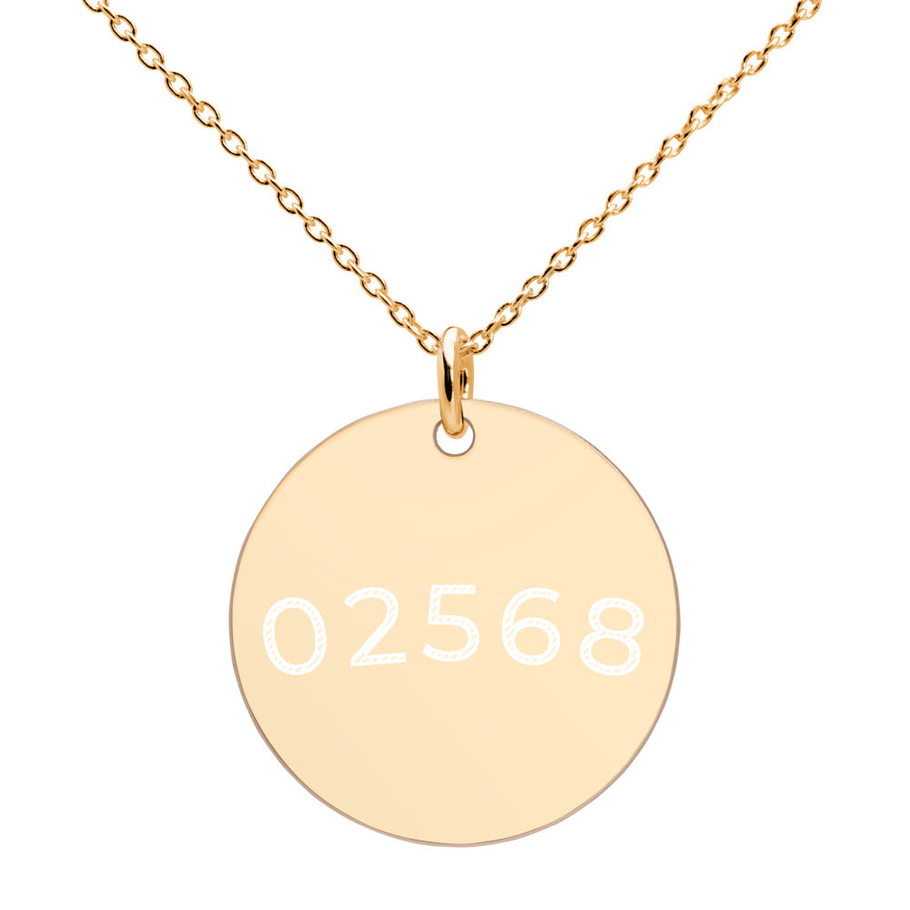 02568  Engraved 24k, Gold, 18K Rose Gold, White Rhodium coated, Sterling Silver Disc Necklace