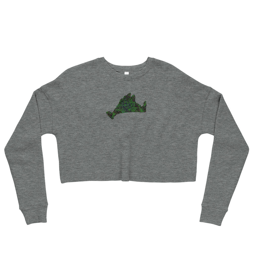 Cropped Sweatshirt-Kaliedoscope Green