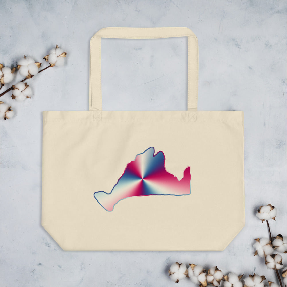 Large organic tote bag-Red, White & Blue