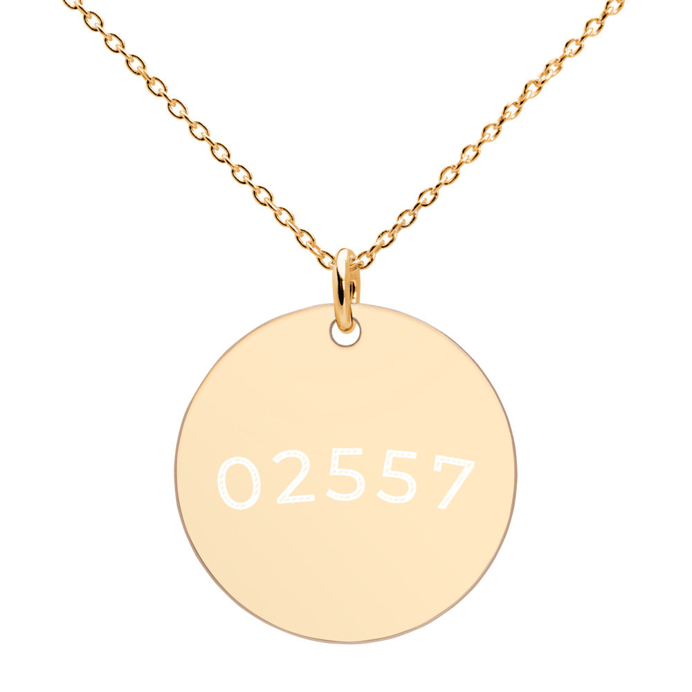 02557 Engraved 24k, Gold, 18K Rose Gold, White Rhodium coated,  Disc  Necklace