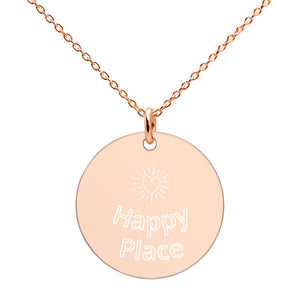 Happy Place-Engraved Disc Necklace