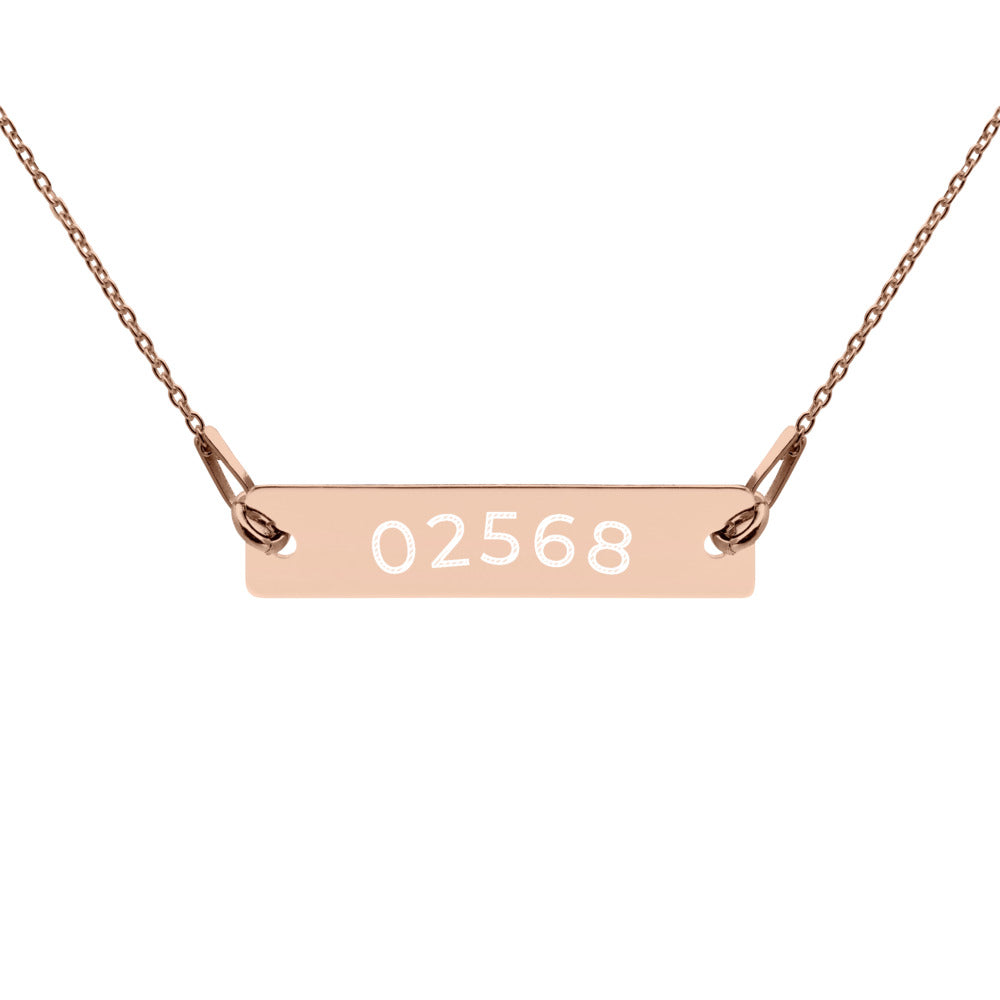 02568 Engraved, 18K Rose Gold, 24K Gold, Black Rhodium Sterling Silver Coated,  Bar Necklace