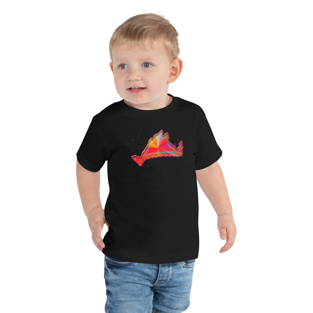 Toddler Short Sleeve Tee Shirt-Rainbow Sunburst