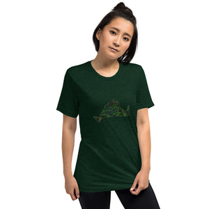 Short sleeve fitted Tee Shirt-Kaleidoscope Green